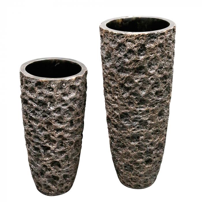 Ghiveci Old Rock, fibra de sticla, maro bronz, 70x33 cm 2021 lotusland.ro