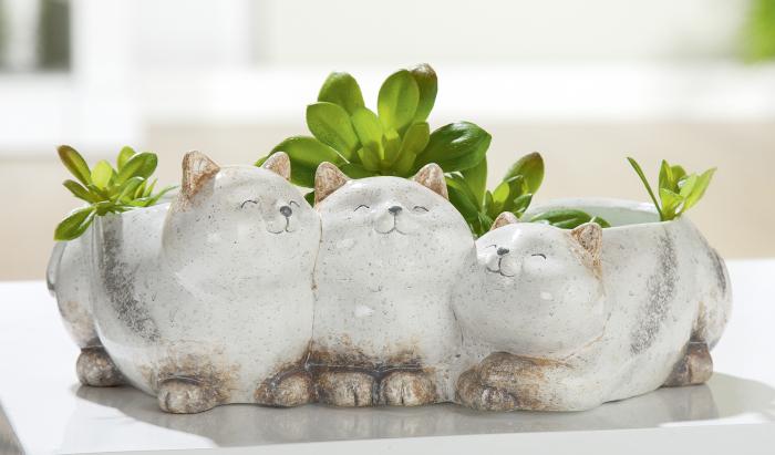 Ghiveci pisici Grosso, ceramica, gri, 26,5x16x10 cm imagine 2021 lotusland.ro