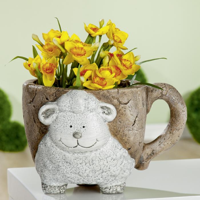Ghiveci Interior/exterior Sheep-Mug, compozit, maro/crem, 29x18x22.5 cm 0