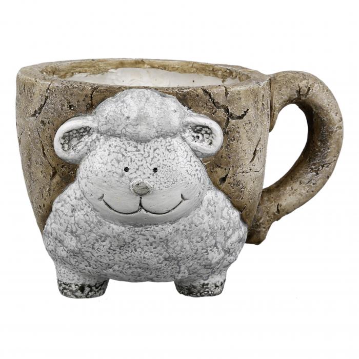 Ghiveci Interior/exterior Sheep-Mug, compozit, maro/crem, 29x18x22.5 cm 1