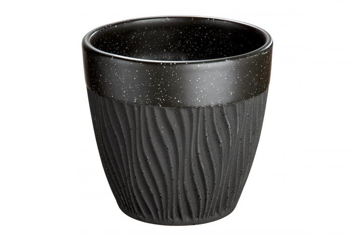 Ghiveci Sombre, ceramica, negru, 14x13x14 cm lotusland.ro