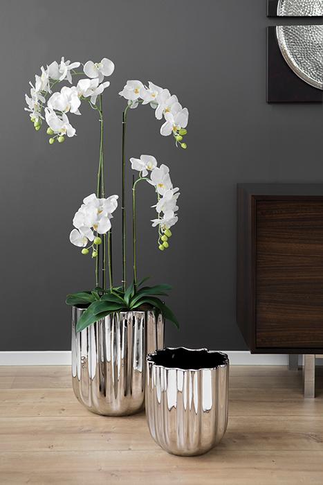 Ghiveci Tulip, Ceramica, Argintiu, 31x30 cm