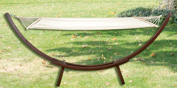 Hamac cu suport, lemn, maro/crem, 320x115x120 cm 0