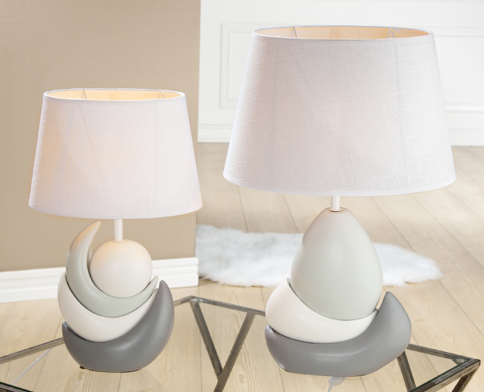 Lampa Ark, ceramica, gri alb, 24x52x22 cm 2021 lotusland.ro