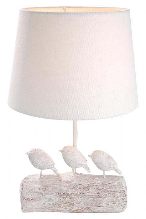 Lampa Birds lemny, rasina, alb, 26x40x25 cm imagine 2021 lotusland.ro