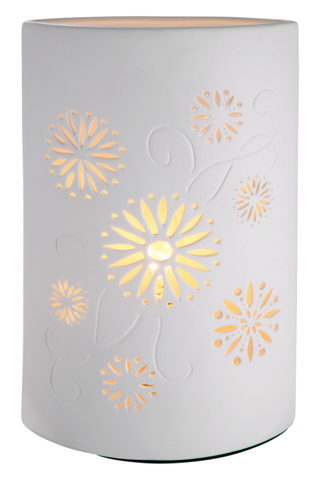 Lampa ELLIPSE FLORALE, portelan, 18 x 10 x 28 cm imagine 2021 lotusland.ro
