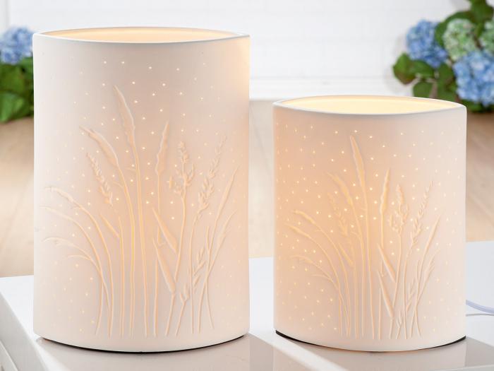 Lampa Ellipse Grasses, portelan, alb, 16x20x10 cm imagine 2021 lotusland.ro