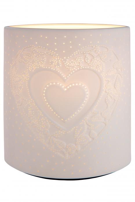 Lampa Ellipse Heart, portelan, crem, 17x20x10 cm imagine 2021 lotusland.ro