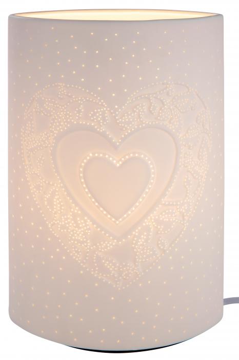 Lampa Ellipse Heart, portelan, crem, 18x28x10 cm imagine 2021 lotusland.ro