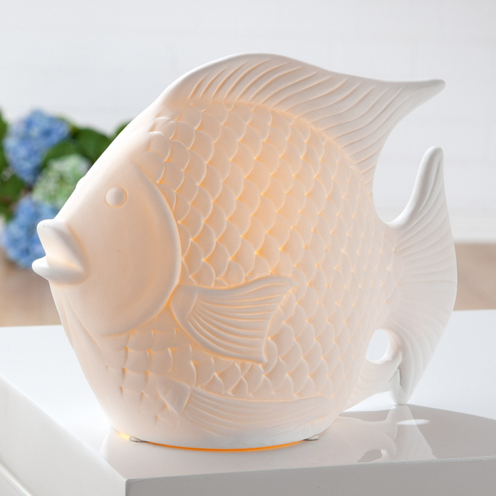Lampa Fish, portelan, alb, 25x19x11 cm imagine 2021 lotusland.ro