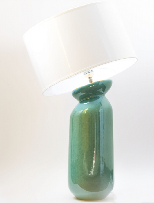 Lampa HERITAGE, ceramica, turquoise, 42x16.5 cm imagine 2021 lotusland.ro