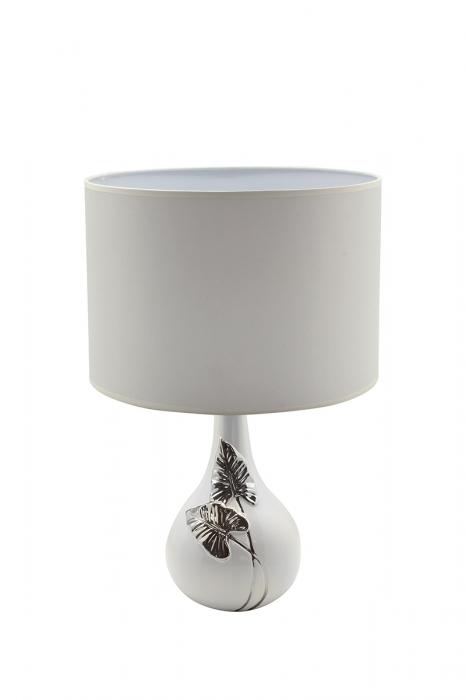 Lampa Manaos, ceramica, argintiu alb, 28x28x39 cm imagine 2021 lotusland.ro