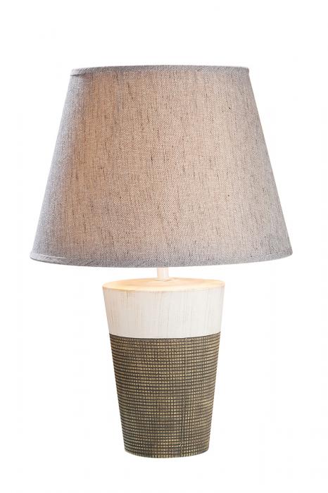 Lampa Marmoria, ceramica, bej maro, 14x19,5x14 cm imagine 2021 lotusland.ro
