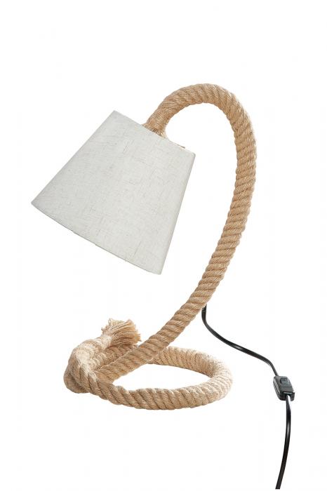 Lampa Rope Design, metal, crem, 26x35x18 cm imagine 2021 lotusland.ro