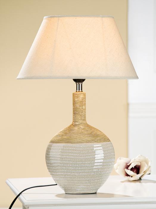 Lampa Scaltro, ceramica, bej maro, 32x45x21 cm imagine 2021 lotusland.ro