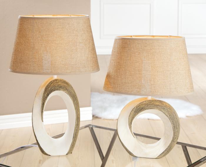 Lampa Tondo Marmoria, ceramica, bej maro, 31x49x20 cm imagine 2021 lotusland.ro