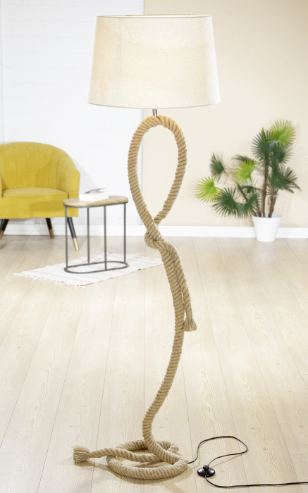 Lampa Rope Design , metal, crem, 170x48 cm 0