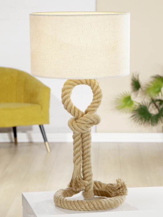 Lampa Rope Design, metal, crem, 62x33 cm 0
