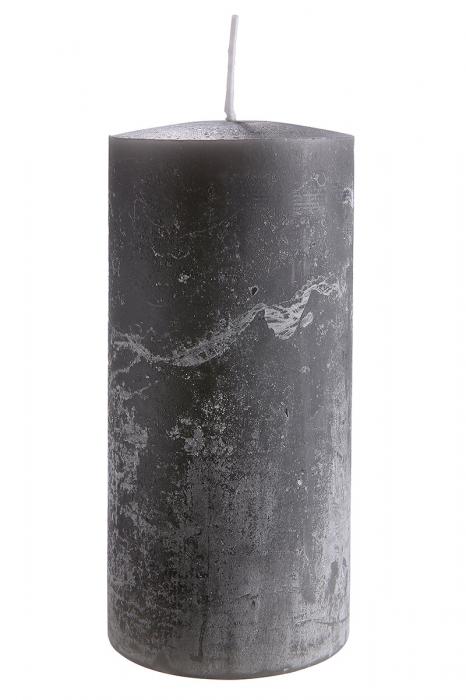 Lumanare Pillar, ceara, gri, 15x7 cm lotusland.ro