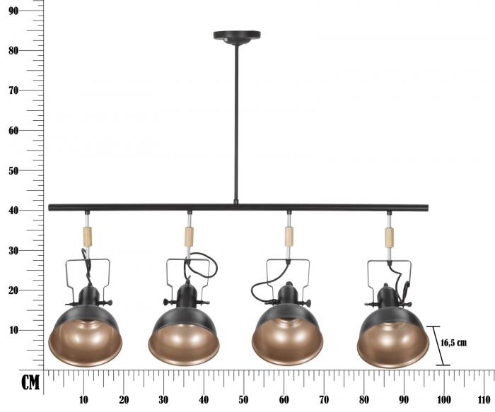 Lustra CUPS negru (cm) 96,5X16,5X84,5 6