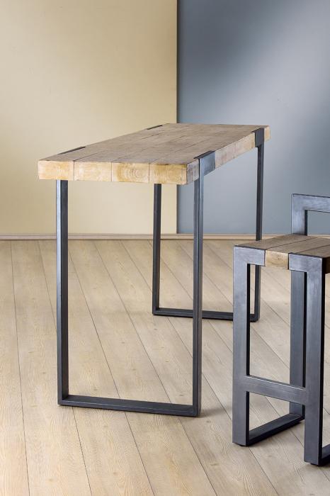 Masa bar TURIN, metal/lemn, 200x55x105 cm 0