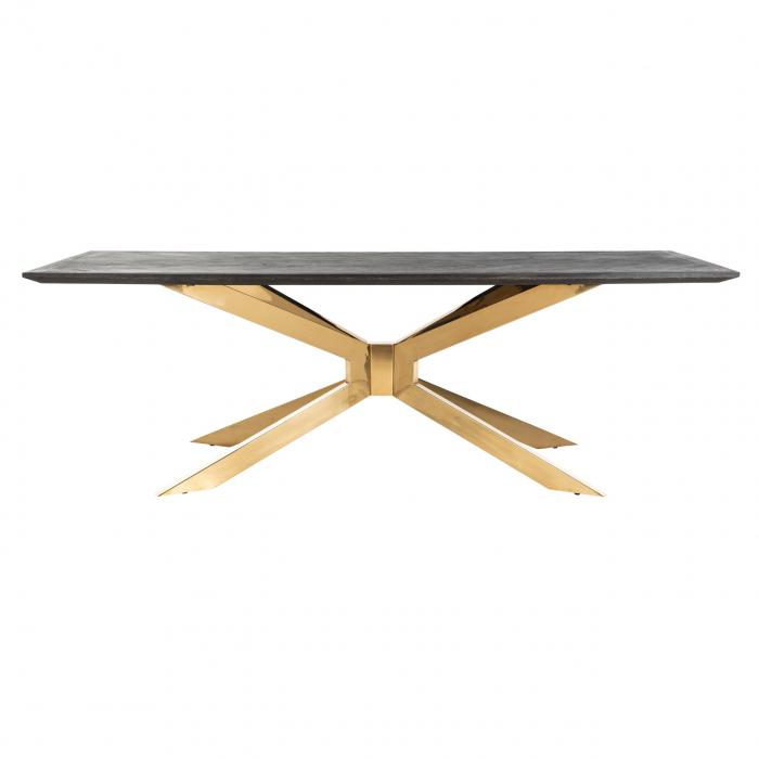 Masa Blackbone Matrix, Lemn/Otel inoxidabil, Negru/Auriu, 75x200x100 cm [0]