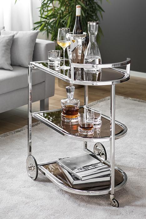 Masa de servire cu roti, Sticla/Otel inoxidabil, Transparent/Argintiu, 48x77 cm 0