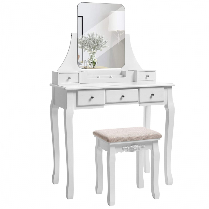 Masa de toaleta cu scaunel, MDF, 80 40 138cm, Songmics imagine 2021 lotusland.ro