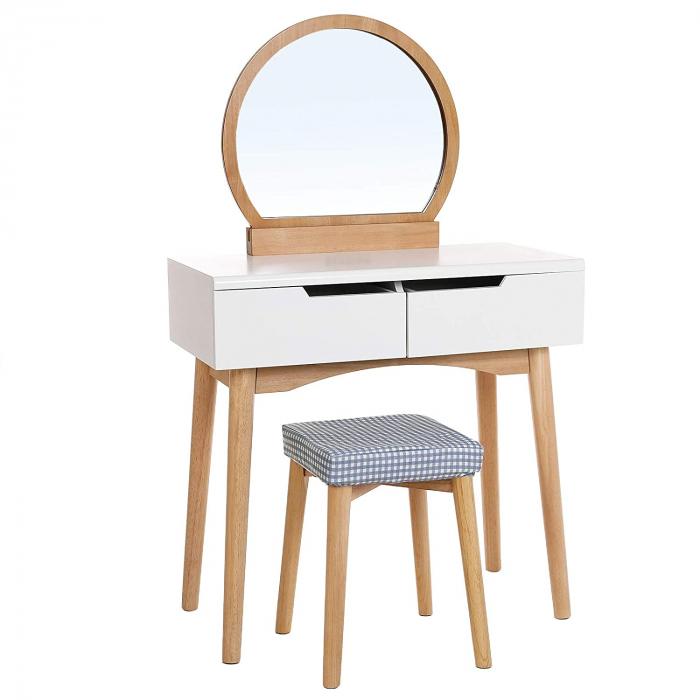 Masa de toaleta cu scaunel, MDF, 91 55 35cm, Songmics imagine 2021 lotusland.ro
