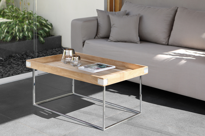 Masa DIEGO, lemn tec/inox, 100x60x62 cm, Fink 1