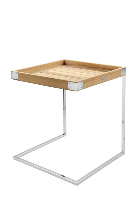 Masa DIEGO, lemn tec/inox, 45x45x62 cm, Fink 0