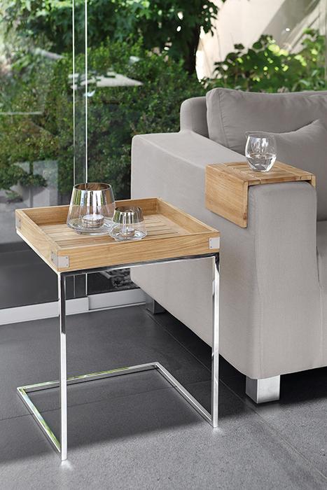 Masa DIEGO, lemn tec/inox, 45x45x62 cm, Fink 1
