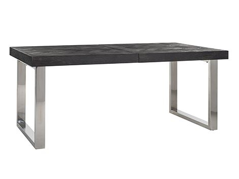 Masa extensibila Blackbone, Lemn/Otel inoxidabil, Argintiu/Negru, 76x265x100 cm [7]