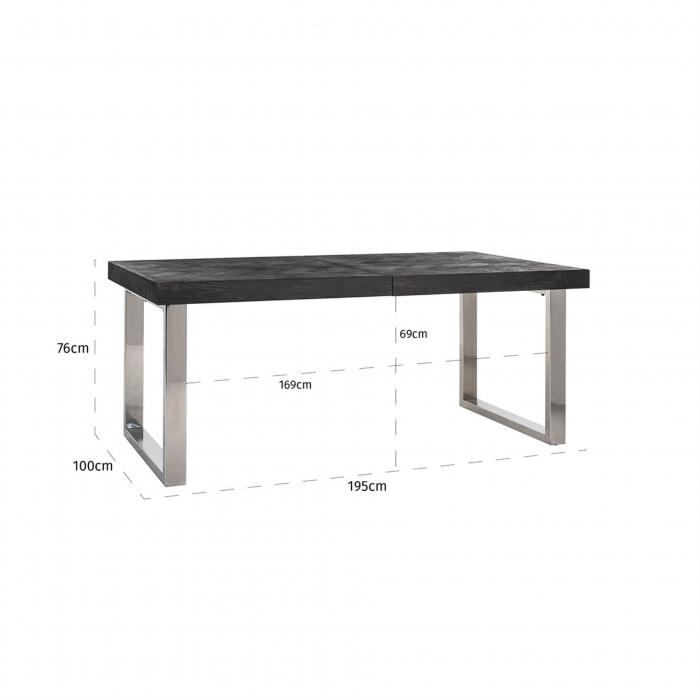 Masa extensibila Blackbone, Lemn/Otel inoxidabil, Argintiu/Negru, 76x265x100 cm [2]