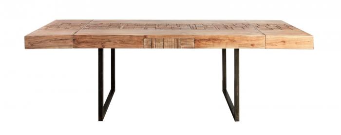 Masa extensibila Mumbai, lemn de acacia/fier, negru/maro, 160/240X80X77 cm 2