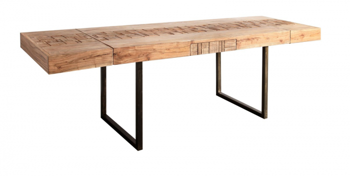 Masa extensibila Mumbai, lemn de acacia/fier, negru/maro, 160/240X80X77 cm 1