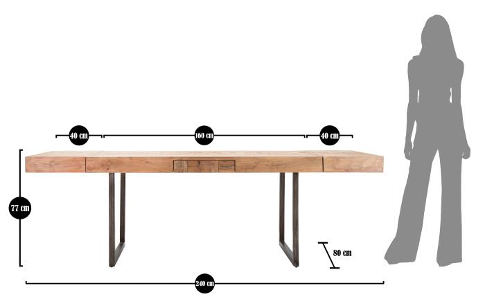 Masa extensibila Mumbai, lemn de acacia/fier, negru/maro, 160/240X80X77 cm 10
