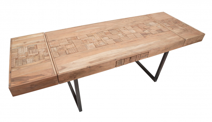 Masa extensibila Mumbai, lemn de acacia/fier, negru/maro, 160/240X80X77 cm 5