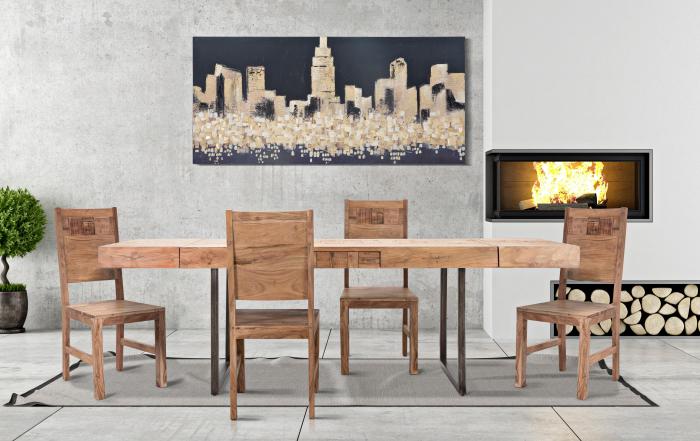 Masa extensibila Mumbai, lemn de acacia fier, negru maro, 160 240X80X77 cm lotusland.ro