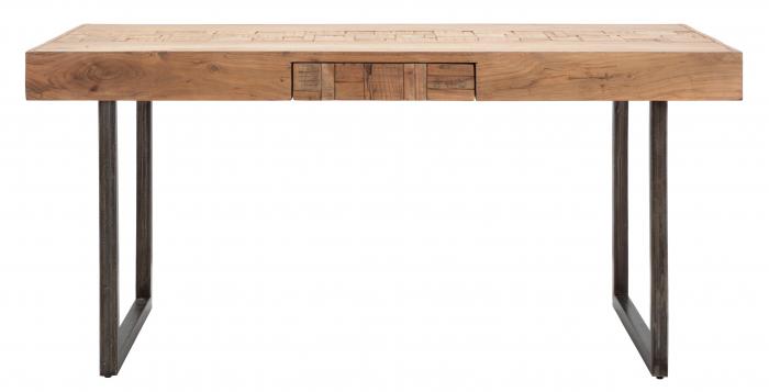 Masa extensibila Mumbai, lemn de acacia/fier, negru/maro, 160/240X80X77 cm 6