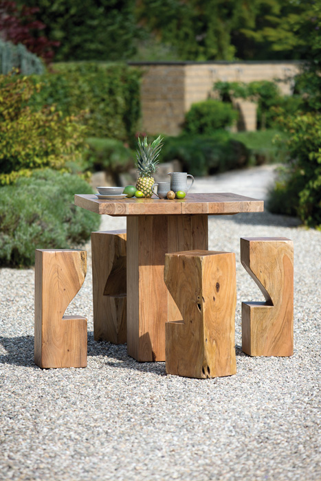 Poza Masa de bar interior exterior lemn masiv salcam PADUA, 105x105x105 cm