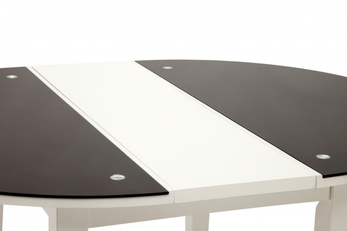 Masa rotunda extensibila, alb/negru, 100X75 cm, Mauro Ferretti 5