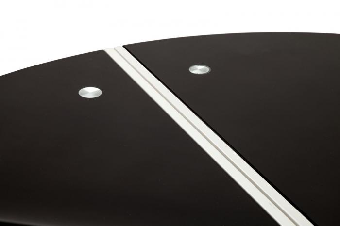 Masa rotunda extensibila, alb/negru, 100X75 cm, Mauro Ferretti 3