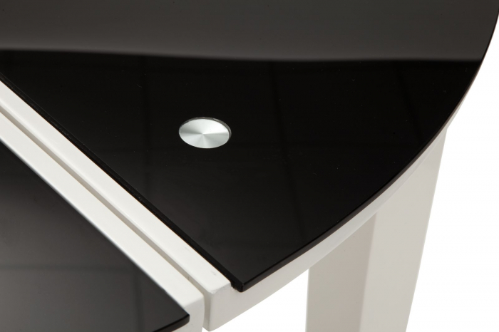 Masa rotunda extensibila, alb/negru, 100X75 cm, Mauro Ferretti 1