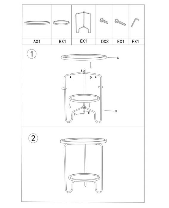 Masuta AREX 2 rafturi (cm)  Ø 48X54,5 8