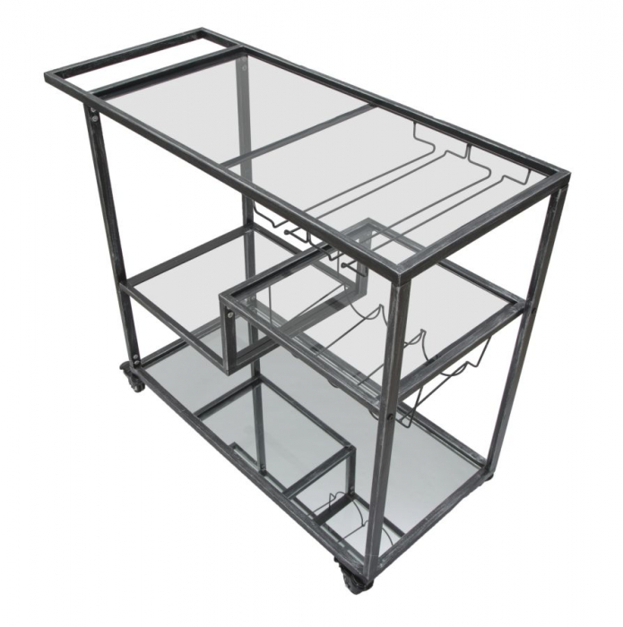 Masuta de servire pe roti GLASS (cm) 95X40X79,5 3