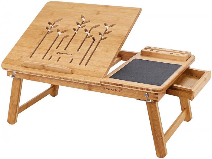 Masuta Laptop, bambus, 55x35x23 cm, nature lotusland.ro