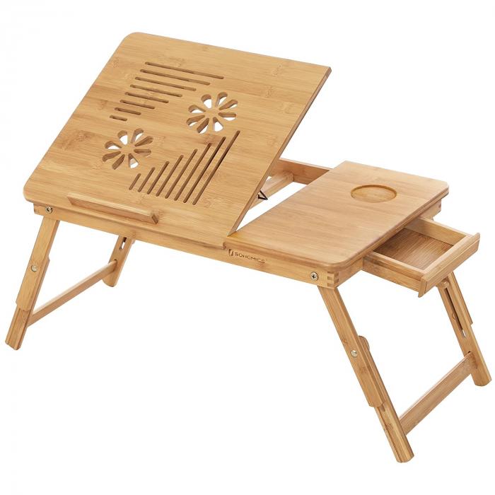Masuta Laptop, bambus, 55x35x29 cm, nature 0