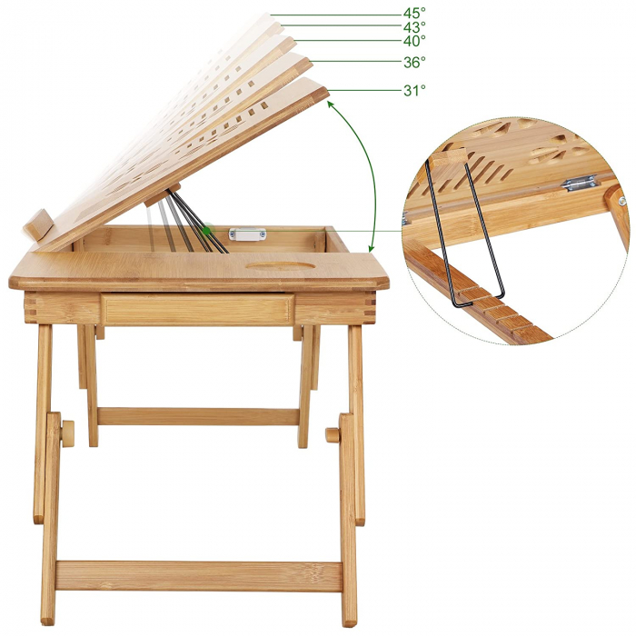 Masuta Laptop, bambus, 55x35x29 cm, nature 3