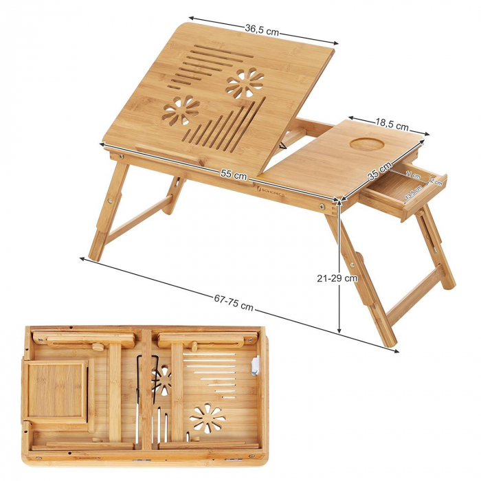 Masuta Laptop, bambus, 55x35x29 cm, nature 5